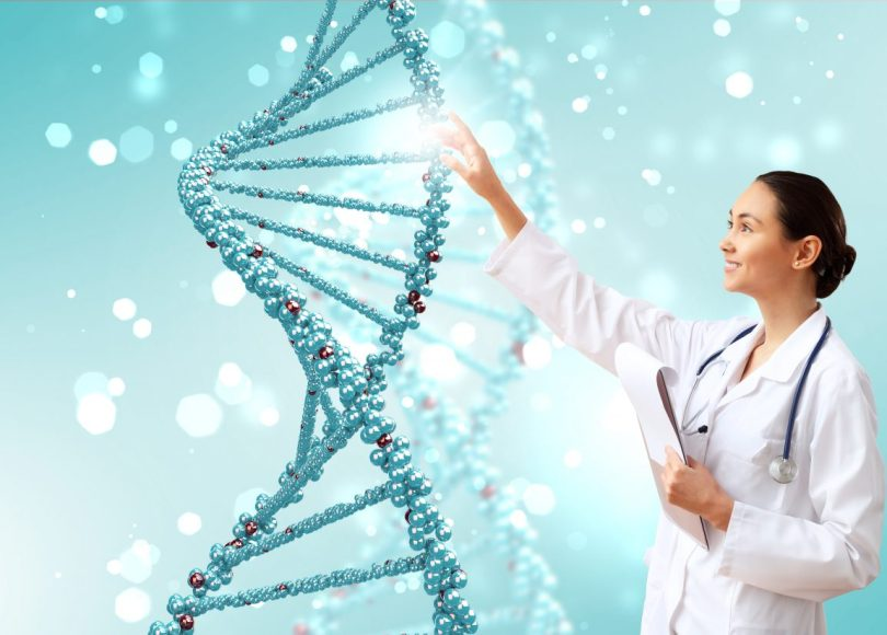 DNA strand against a colored background