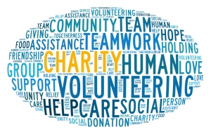 Charity concept in word collage