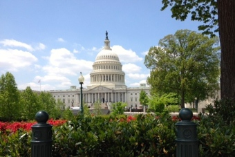View of U.S. Capitol building on a spring day